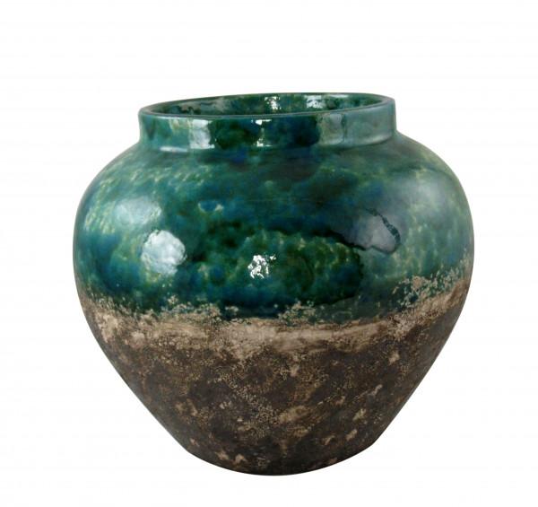 Moderne Dekovase Blumenvase Tischvase Vase Krug aus Keramik türkis grün braun 30x25 cm cm