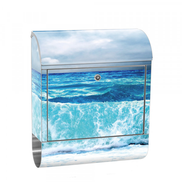 Stainless Steel Letterbox with Newspaper roll & Motif ocean ocean wave storm | No. 0100