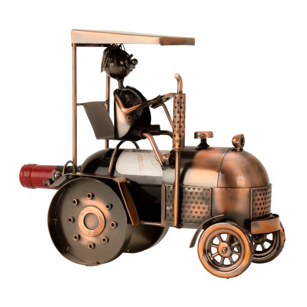 Moderner Weinflaschenständer Flaschenhalter Traktor aus Metall kupferfarben Höhe 27 cm