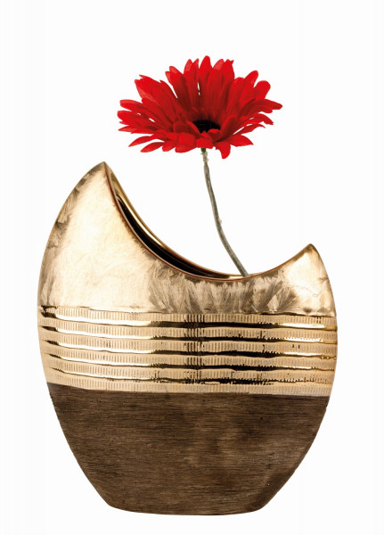 Modern decorative vase flower vase ceramic gold / brown height 23 cm