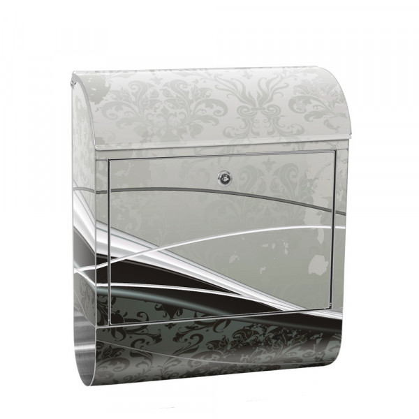 Stainless Steel Letterbox with Newspaper roll & Motif Ornaments Baroque | No. 0003