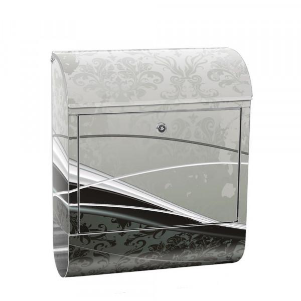 Edelstahlbriefkasten mit Zeitungsrolle & Motiv Ornamente Barock | no. 0003