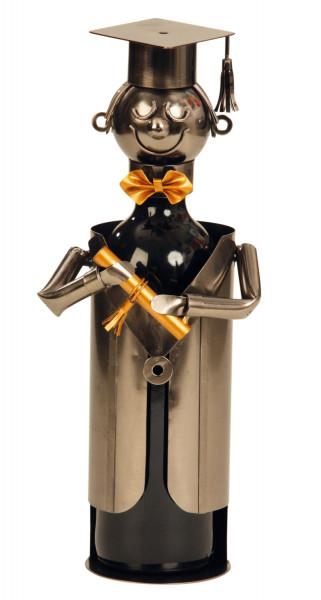 Extravaganter Wein Flaschenhalter Flaschenständer Student aus Metall in silber Höhe 21,5 cm