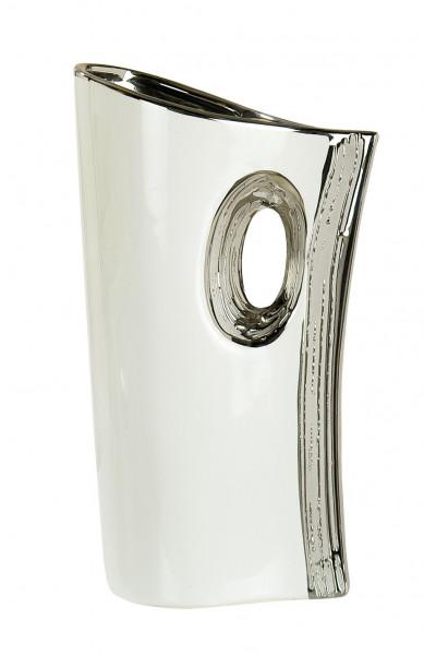 Modern deco vase flower vase ceramic table vase white / silver height 30 cm width 17.5 cm