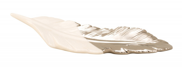 Modern sculpture Bird feather made of ceramic white / silver Length 23 cm