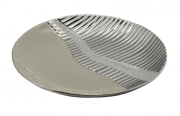 Moderne Dekoschale Obstschale Schale 'Valletta' aus Keramik silber/grau Durchmesser 28,5 cm