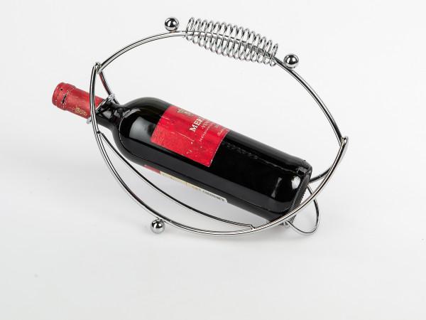 Moderner Weinflaschenhalter Welle aus Metall verchromt silber Länge 28 cm