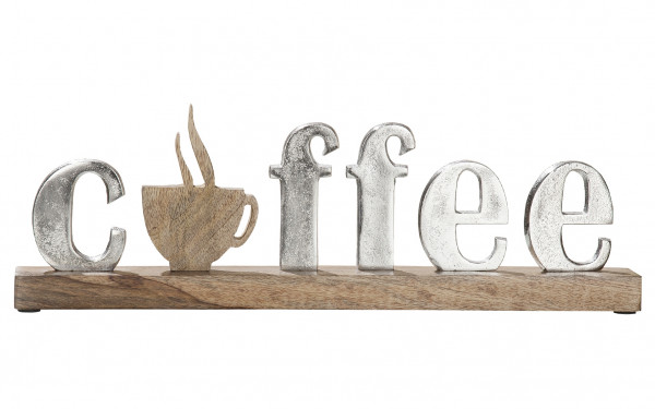 Modern lettering COFFEE silver / brown on mango wood 43x5x14 cm