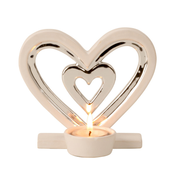 Modern tealight holder Tealight candle as a heart of ceramic white / silver Height 13 cm Width 14.5
