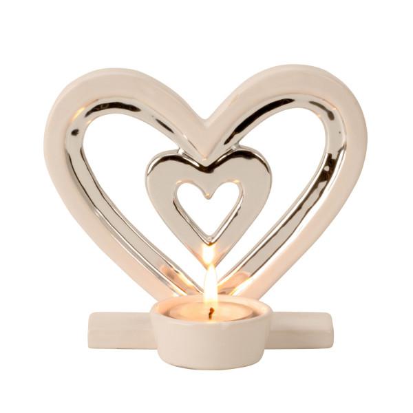 Moderner Teelichthalter Teelichtleuchter als Herz aus Keramik weiß/silber Höhe 13cm Breite 14,5cm