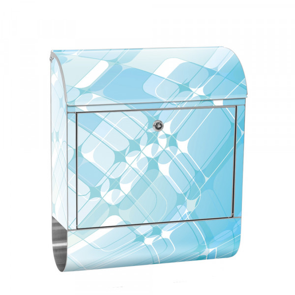 Stainless Steel Letterbox with Newspaper roll & Motif Abstract Turquoise | No. 0223