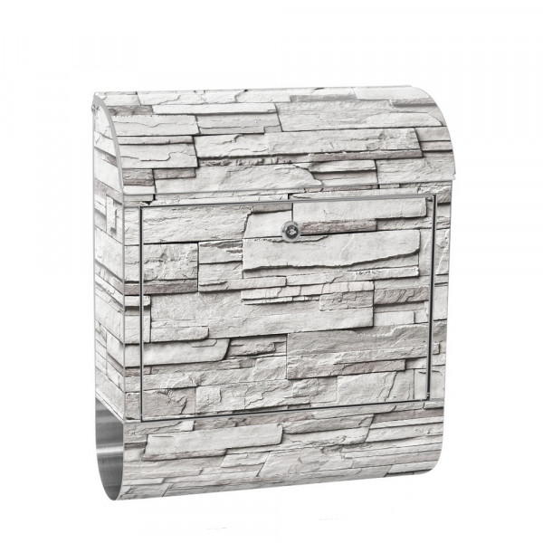 Stainless Steel Letterbox with Newspaper roll & Motif stone wall Stone Optics | No. 0019