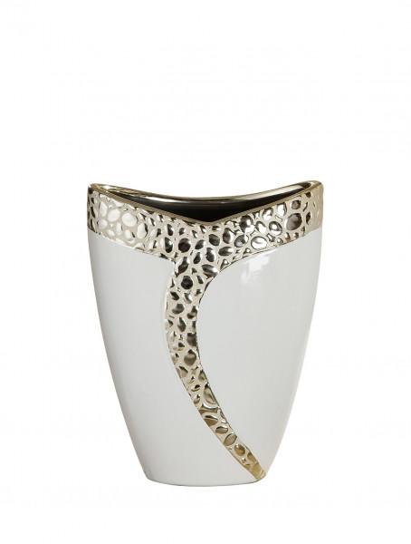 Modern deco vase flower vase ceramic table vase white champagne 16x20 cm