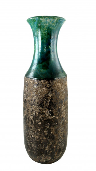 Moderne Deko Vase Blumenvase Bodenvase aus Keramik türkis grün braun Höhe 50 cm