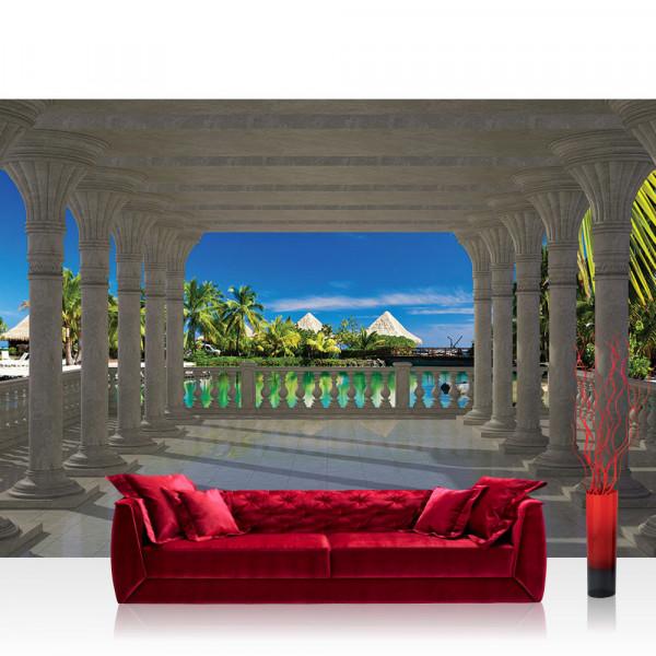 Vlies Fototapete Meer Tapete Architektur Paradies Meer Bogen Palmen blau