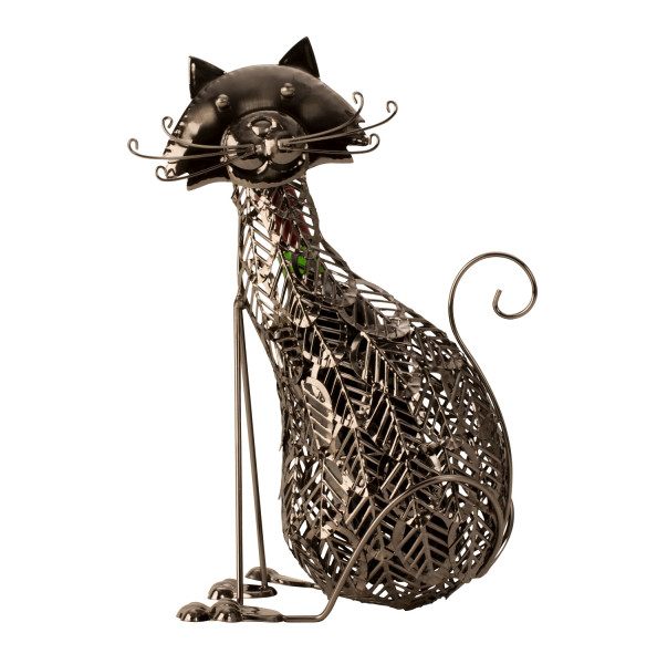 Modern wine bottle holder bottle stand cat metal silver height 41 cm
