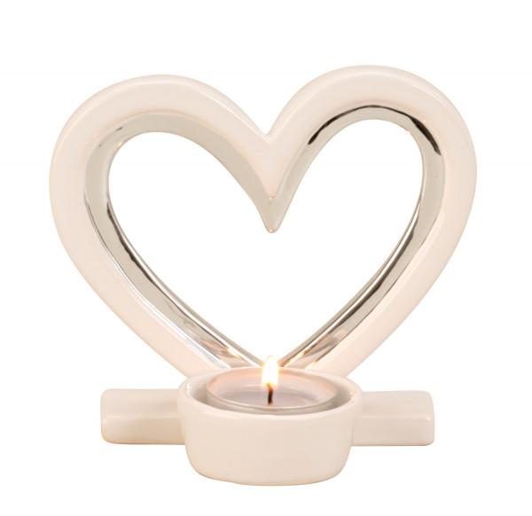 Moderner Teelichthalter Teelichtleuchte Herz Liebe aus Keramik weiß/silber Höhe 12 cm Breite 13 cm