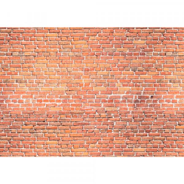 Vlies Fototapete Red Brick Stone Wall - anreihbar Steinwand Tapete Steinoptik Stein Wand Wall rot