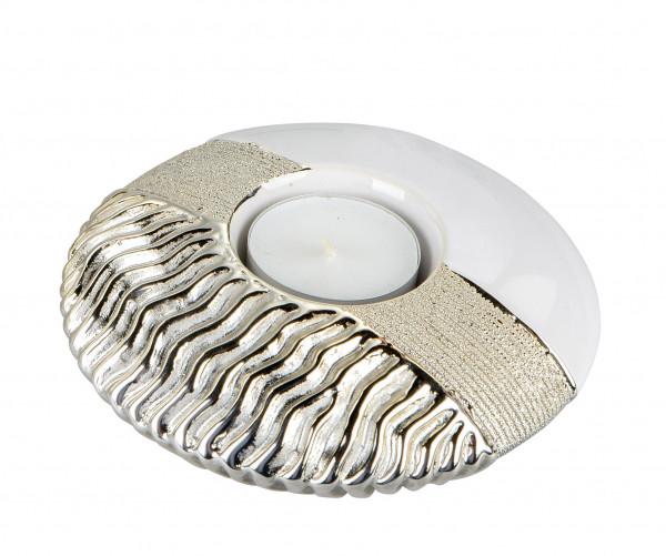 Moderner Teelichthalter Teelichtleuchte aus Keramik weiß/gold Durchmesser 15 cm