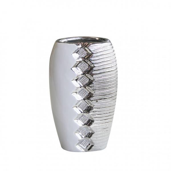 Moderne Deko Vase Blumenvase Tischvase aus Keramik weiß/silber mit Perlenreihe 14x24 cm