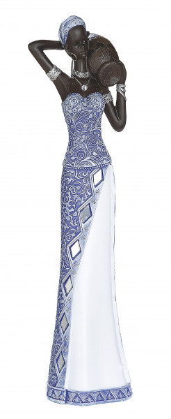 Moderne Skulptur Dekofigur Frau Afrikanerin blau/weiß/braun Höhe 39 cm