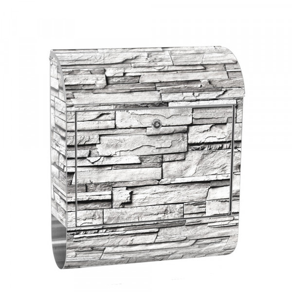 Stainless Steel Letterbox with Newspaper roll & Motif stone wall Stone Optics | No. 0132