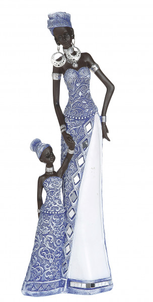Modern sculpture deco figure woman African woman blue / white / brown height 32 cm