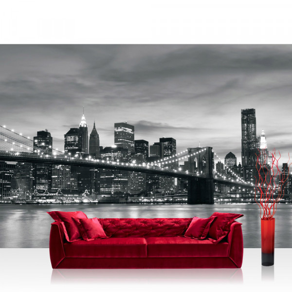 Vlies Fototapete New York Tapete New York Bridge Lightning schwarz - weiß