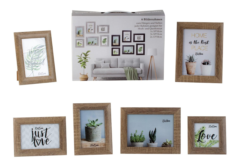 Modernes Bilderrahmen Fotorahmen Set 6-teilig zum Stellen und Hängen hell braun