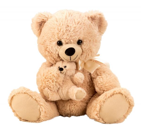 Teddybär Kuschelbär Plüschbär Kuscheltier mit Baby im Arm Höhe 38 cm samtig weich - zum liebhaben