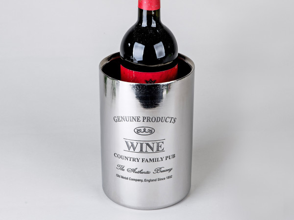 Bottle cooler Wine cooler made of double-walled stainless steel and inscription height 18 cm