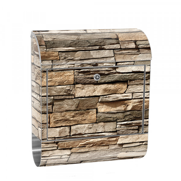 Stainless Steel Letterbox with Newspaper roll & Motif stone wall Stone Optics | No. 0128