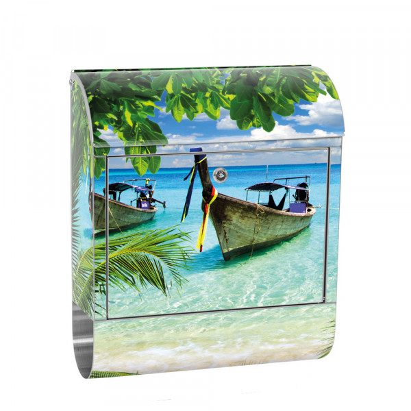 Stainless Steel Letterbox with Newspaper roll & Motif beach sea boat palm Tree | No. 0649