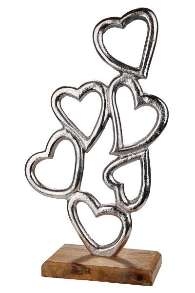 Moderne Skulptur Dekofigur Herz aus Aluminium auf Sockel aus Mangoholz Silber/braun 18x42 cm