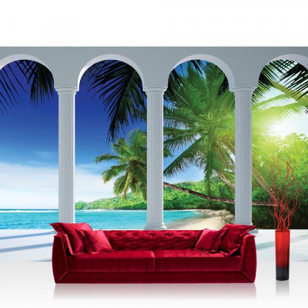 Vlies Fototapete Strand Tapete Palmen Meer Himmel Paradies Terrasse Ausblick weiß