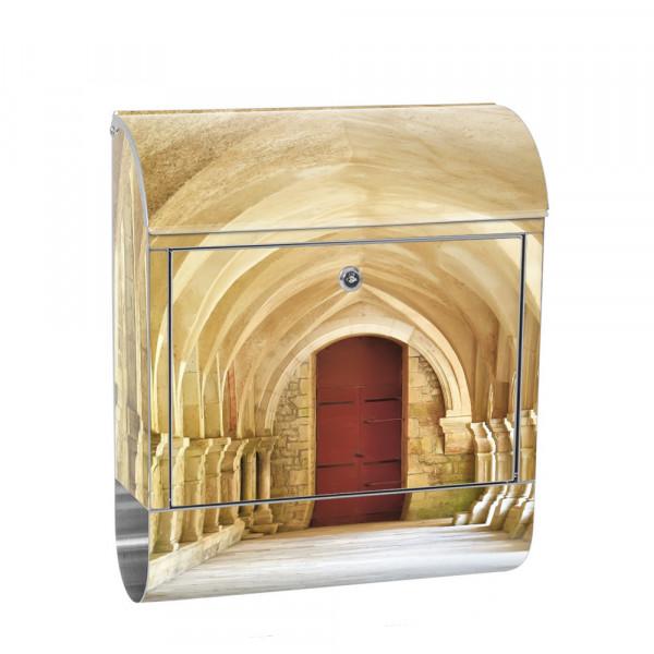 Edelstahlbriefkasten mit Zeitungsrolle & Motiv Arkaden 3D Spanien | no. 0065