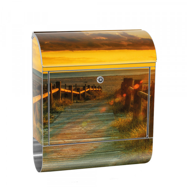 Stainless Steel Letterbox with Newspaper roll & Motif Sunrise Rocks | No. 0064