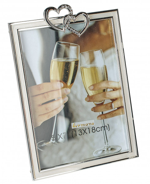 Modern Photo Frame with 2 hearts aluminum silver 10x15 cm
