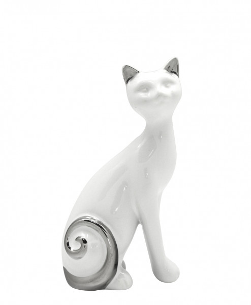 Set of 2 Sculpture Deco figure Cat 'Buenos' ceramic white / silver height 20 cm