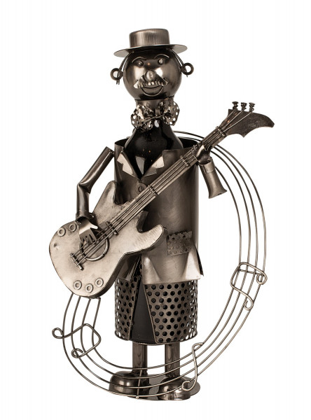 Extravagant wine bottle holder guitarist of metal Height 37 cm