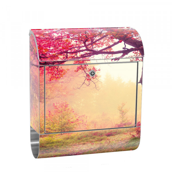 Stainless Steel Letterbox with Newspaper roll & Motif Forest Trees autumn | No. 0258