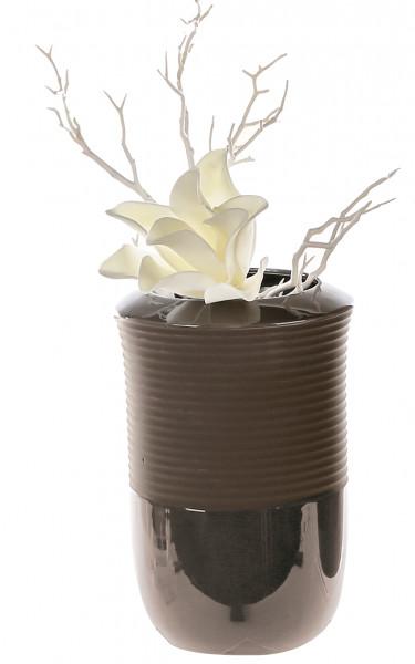 Modern deco vase flower vase made of porcelain in dark gray / brown Height 24,1 cm