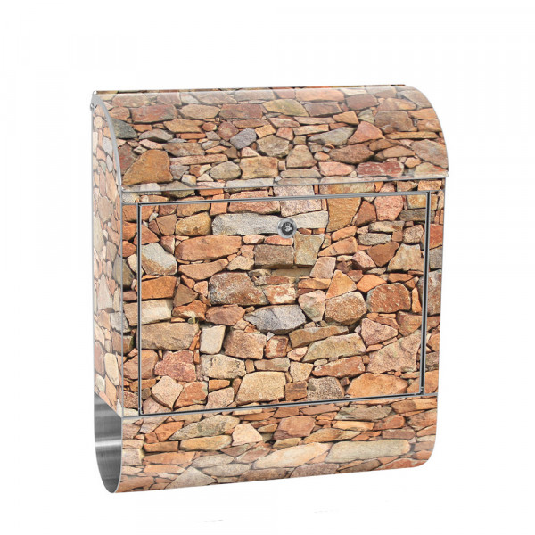 Stainless Steel Letterbox with Newspaper roll & Motif stone Stone Optic Wall | No. 0156
