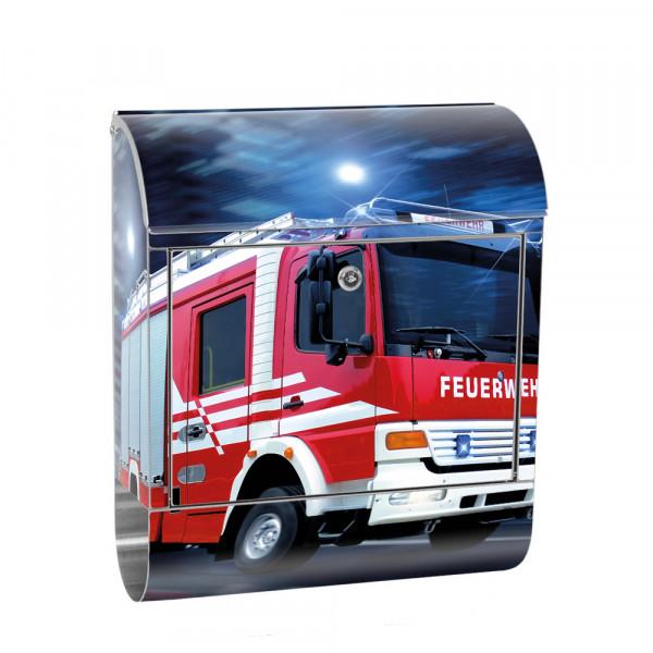 Edelstahlbriefkasten mit Zeitungsrolle & Motiv Feuerwehrauto Skyline | no. 0535