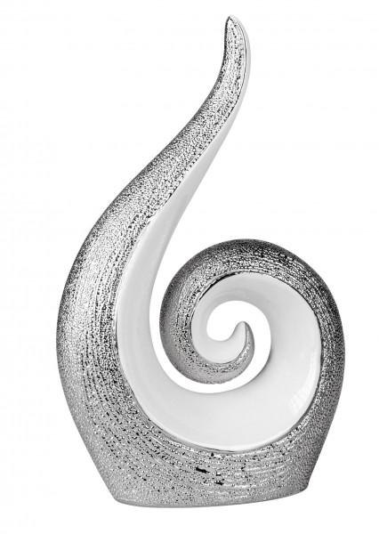 Modern sculpture decoration figure of ceramic in white / silver height 25 cm