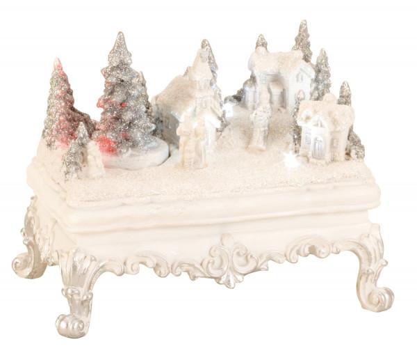 Moderne Winterlandschaft auf einem Tisch mit LED und Bewegung aus Keramik in weiss 14x17 cm