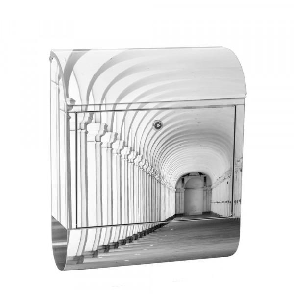Edelstahlbriefkasten mit Zeitungsrolle & Motiv Arkaden 3D Perspektive | no. 0224