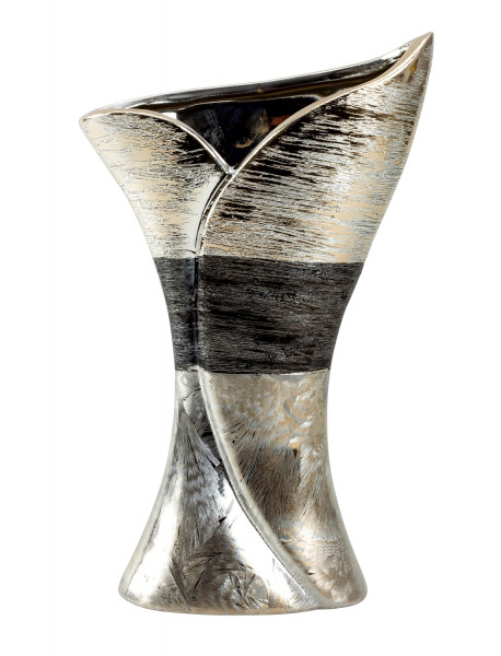 Moderne Dekovase Blumenvase Tischvase Vase aus Keramik silber/anthrazit 17x28 cm