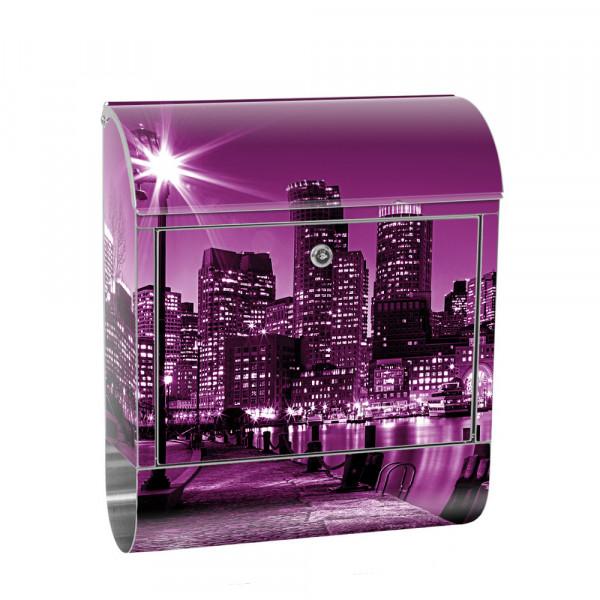 Edelstahlbriefkasten mit Zeitungsrolle & Motiv New York Skyline Nacht | no. 0857