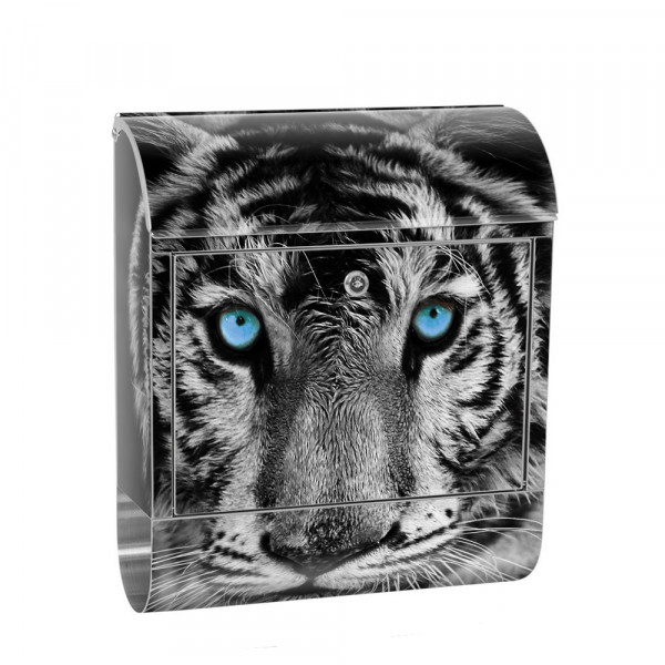 Stainless Steel Letterbox with Newspaper roll & motif tiger black and White | No. 0426